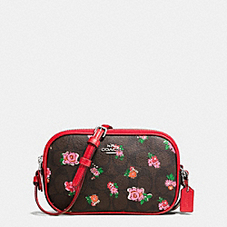 CROSSBODY POUCH IN FLORAL LOGO PRINT - F56503 - SILVER/BROWN RED MULTI