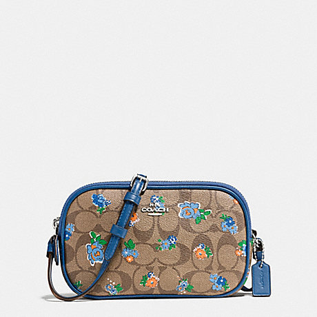COACH CROSSBODY POUCH IN FLORAL LOGO PRINT - SILVER/KHAKI BLUE MULTI - f56503