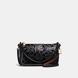 COACH TOP HANDLE POUCH IN SIGNATURE LEATHER - BLACK/BLACK/LIGHT GOLD - F56518