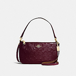 TOP HANDLE POUCH IN SIGNATURE DEBOSSED PATENT LEATHER - f56518 - IMITATION GOLD/OXBLOOD 1
