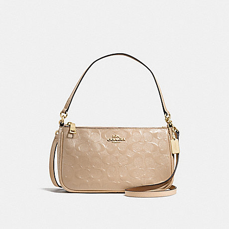 COACH f56518 TOP HANDLE POUCH IN SIGNATURE DEBOSSED PATENT LEATHER IMITATION GOLD/PLATINUM