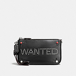 COACH NOLITA WRISTLET 19 IN GLOVETANNED LEATHER WITH WESTERN RIVETS - SILVER/BLACK - F56524