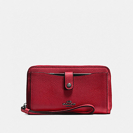 COACH PHONE WALLET - Cherry/Dark Gunmetal - f56528