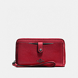PHONE WALLET - CHERRY/DARK GUNMETAL - COACH F56528