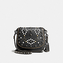 COACH SADDLE 17 WITH WESTERN RIVETS - BLACK/BLACK COPPER - F56564