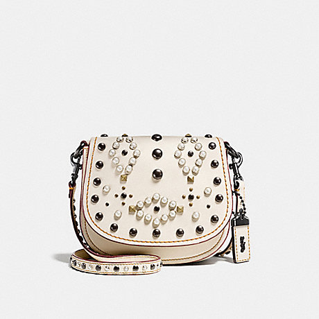 COACH f56564 SADDLE 17 WITH WESTERN RIVETS chalk/black copper