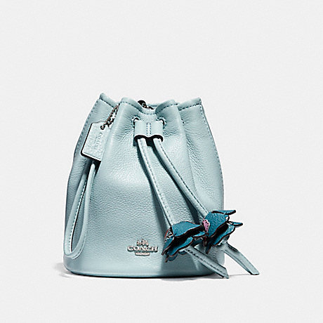 COACH f56581 PETAL WRISTLET IN PEBBLE LEATHER SILVER/AQUA