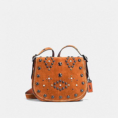 COACH f56621 SADDLE 23 WITH WESTERN RIVETS GINGER/BLACK COPPER
