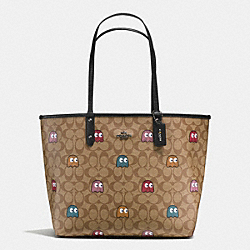 COACH REVERSIBLE CITY TOTE IN SIGNATURE PAC MAN GHOST PRINT COATED CANVAS - BLACK ANTIQUE/KHAKI MULTI - F56649