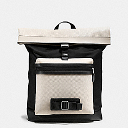 COACH TERRAIN EXPLORER PACK IN PERFORATED MIXED MATERIALS - CHALK/BLACK - F56662