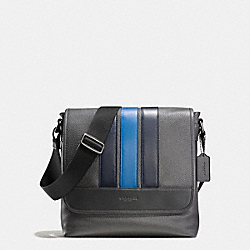BOND SMALL MESSENGER IN PEBBLE LEATHER - f56666 - GRAPHITE/MIDNIGHT NAVY/DENIM