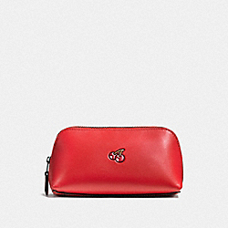 COACH PAC MAN COSMETIC CASE 17 IN CALF LEATHER - BLACK ANTIQUE/WATERMELON - F56712