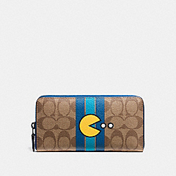 COACH PAC MAN ACCORDION ZIP WALLET IN SIGNATURE - BLACK ANTIQUE/KHAKI DENIM - F56718