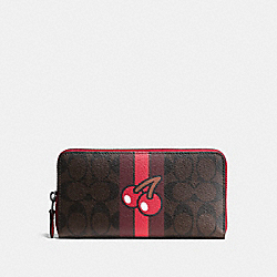 COACH PAC MAN ACCORDION ZIP WALLET IN SIGNATURE - IMITATION GOLD/BROWN TRUE RED - F56718