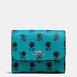 COACH ACCORDION CARD CASE IN BADLANDS FLORAL PRINT CANVAS - SILVER/TURQUOISE BLACK - F56723