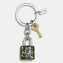 COACH GLITTER RESIN LOCK AND KEY KEY RING - SILVER/GOLD - F56740