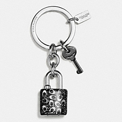 GLITTER RESIN LOCK AND KEY KEY RING - SILVER/GUNMETAL - COACH F56740