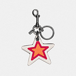 COACH LEATHER STAR BAG CHARM - BLACK/ORANGE - F56750