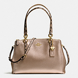 SMALL CHRISTIE CARRYALL IN METALLIC LEATHER WITH EXOTIC TRIM - f56853 - IMITATION GOLD/PLATINUM