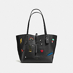 MARKET TOTE WITH SOUVENIR EMBROIDERY - f57077 - BLACK/DARK GUNMETAL