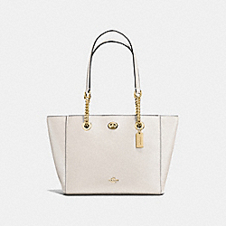 TURNLOCK CHAIN TOTE 27 - LI/CHALK - COACH F57107