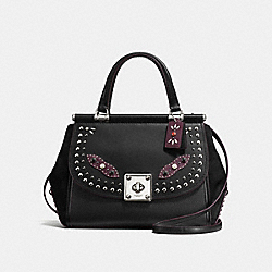DRIFTER CARRYALL IN GLOVETANNED LEATHER WITH WESTERN RIVETS - F57120 - SILVER/BLACK