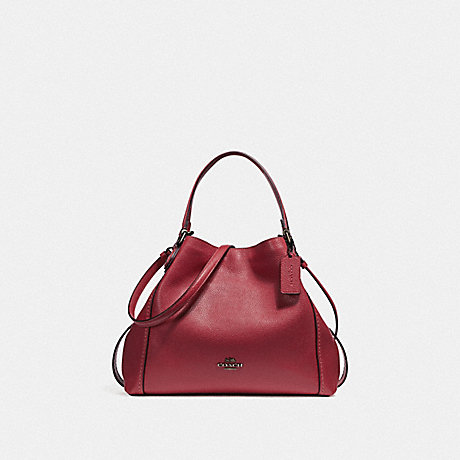 COACH EDIE SHOULDER BAG 28 - WASHED RED/DARK GUNMETAL - f57124