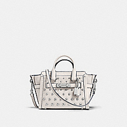 COACH SWAGGER 15 IN PEBBLE LEATHER WITH OMBRE RIVETS - SILVER/CHALK - COACH F57138