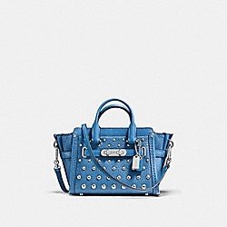 COACH SWAGGER 15 IN PEBBLE LEATHER WITH OMBRE RIVETS - SILVER/LAPIS - COACH F57138