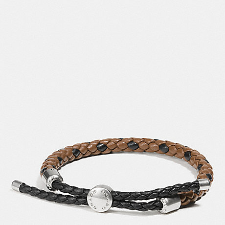 COACH BRAIDED LEATHER ADJUSTABLE BRACELET - DARK SADDLE - f57147