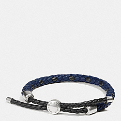 COACH BRAIDED LEATHER ADJUSTABLE BRACELET - INDIGO - F57147