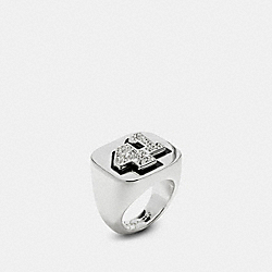 COACH 41 CHAMPIONSHIP RING - SILVER/CLEAR - COACH F57196
