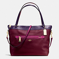 COACH TYLER TOTE IN COLORBLOCK LEATHER - IMITATION GOLD/BURGUNDY/AUBERGINE MULTI - F57210