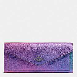 COACH SOFT WALLET IN HOLOGRAM LEATHER - DARK GUNMETAL/MULTICOLOR - F57213