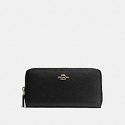 COACH ACCORDION ZIP WALLET IN PEBBLE LEATHER - IMITATION GOLD/BLACK - F57215