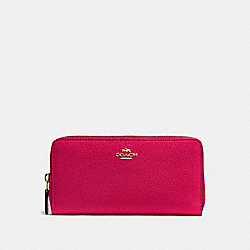 COACH ACCORDION ZIP WALLET IN PEBBLE LEATHER - IMITATION GOLD/BRIGHT PINK - F57215