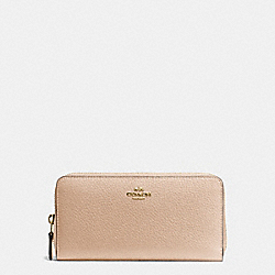 COACH ACCORDION ZIP WALLET IN PEBBLE LEATHER - IMITATION GOLD/BEECHWOOD - F57215
