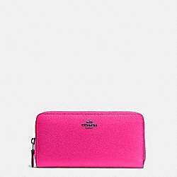 COACH ACCORDION ZIP WALLET IN PEBBLE LEATHER - BLACK ANTIQUE NICKEL/BRIGHT FUCHSIA - F57215