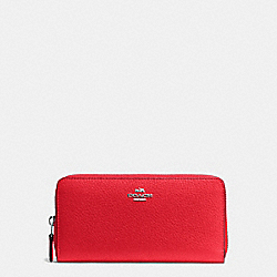 COACH ACCORDION ZIP WALLET IN PEBBLE LEATHER - SILVER/BRIGHT RED - F57215
