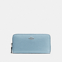 COACH ACCORDION ZIP WALLET IN PEBBLE LEATHER - SILVER/CORNFLOWER - F57215