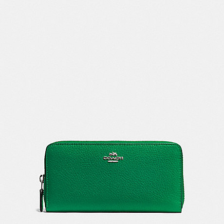 COACH ACCORDION ZIP WALLET IN PEBBLE LEATHER - SILVER/JADE - f57215