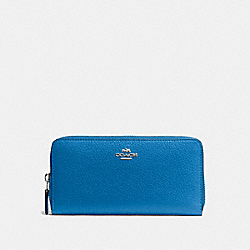 COACH ACCORDION ZIP WALLET IN PEBBLE LEATHER - SILVER/LAPIS - F57215