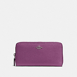 COACH ACCORDION ZIP WALLET IN PEBBLE LEATHER - SILVER/MAUVE - F57215