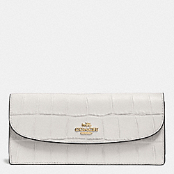 COACH SOFT WALLET IN CROC EMBOSSED LEATHER - IMITATION GOLD/CHALK - F57217