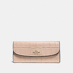 SOFT WALLET IN CROC EMBOSSED LEATHER - f57217 - IMITATION GOLD/BEECHWOOD