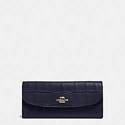 SOFT WALLET IN CROC EMBOSSED LEATHER - f57217 - IMITATION GOLD/MIDNIGHT