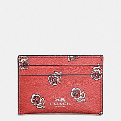 FLAT CARD CASE IN SIENNA ROSE PRINT  CANVAS - f57226 - SILVER/WATERMELON