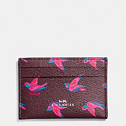 FLAT CARD CASE IN HAPPY BIRD PRINT CANVAS - f57227 - SILVER/BURGUNDY OXBLOOD 1