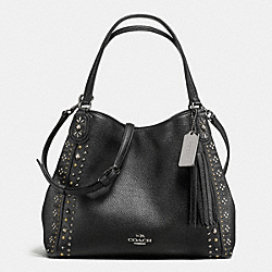 COACH BANDANA RIVETS EDIE SHOULDER BAG 28 IN PEBBLE LEATHER - DARK GUNMETAL/BLACK - F57241