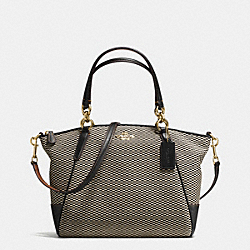 SMALL KELSEY SATCHEL IN EXPLODED REPS PRINT JACQUARD - f57244 - IMITATION GOLD/MILK/BLACK